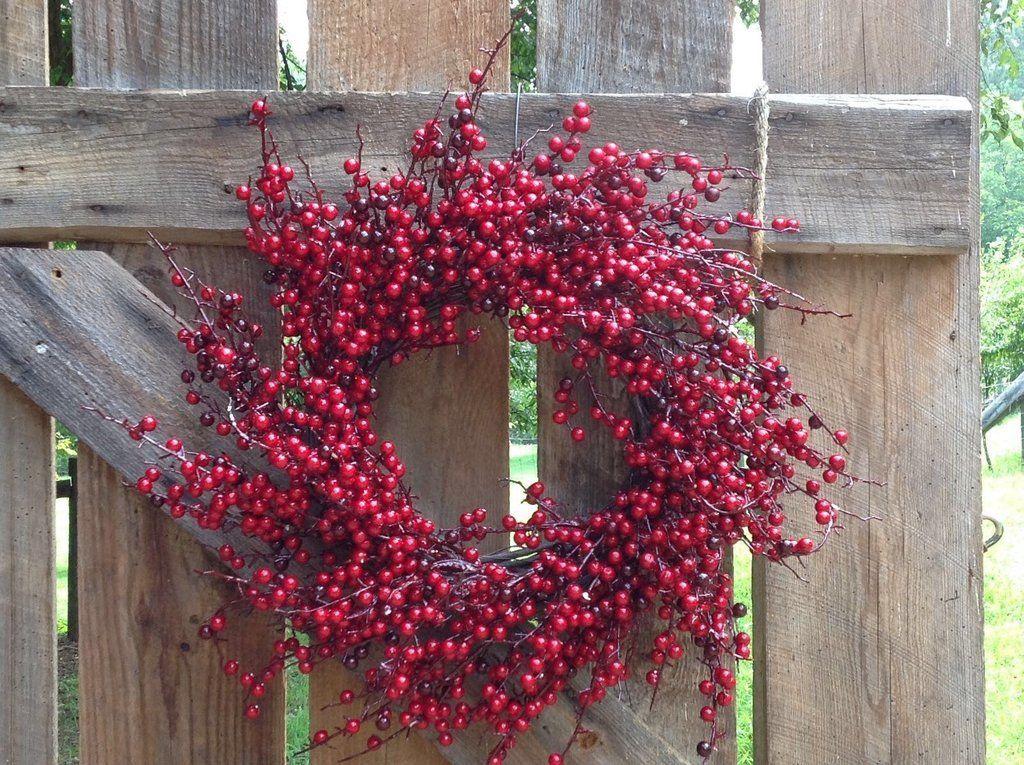 24 Red Spiral Berry Wreath Wreaths Berry Wreath White Urn
