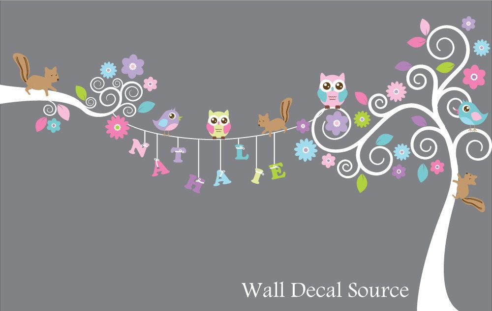 Swirly+Tree+Monogram+Decal++Owl+and+Squirrel+by+WallDecalSource,+$115.00