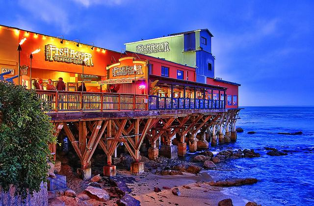 The Colorful Fish Hopper On Monterey Bay Restaurant Just After Sunset Located Along Famous Cannery Row In