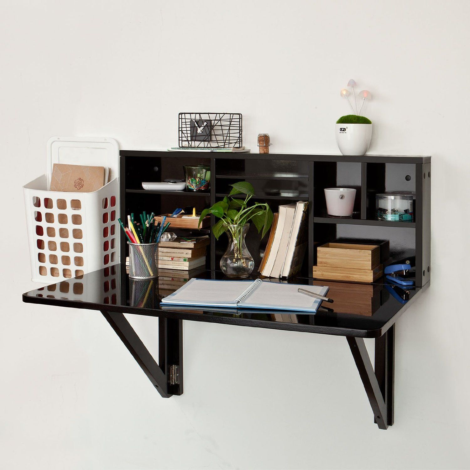 Furniture Black Wood Wall Mounted Fold Up Desk With Stationery Shelves And White Plastic File