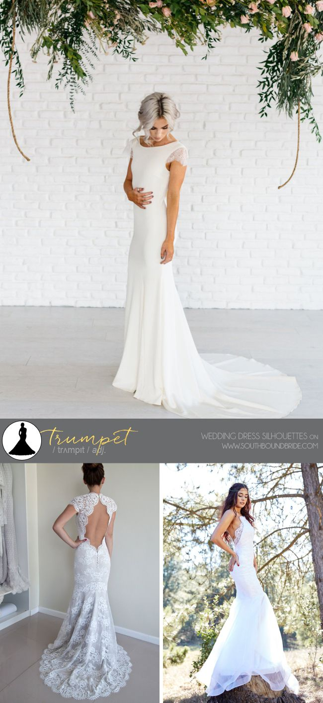 Wedding Dress Silhouttes: Trumpet | SouthBound Bride | http://southboundbride.com/a-southbound-guide-to-wedding-dress-silhouettes | Credit: Patricia Wedding Gown by Chantel Lauren Shop (top) | Keyhole Back Wedding Dress by Polina Ivanova (bottom left) | Low Back Wedding Dress by Victoria and Fitz (bottom right; Image by www.sergionphoto.com)