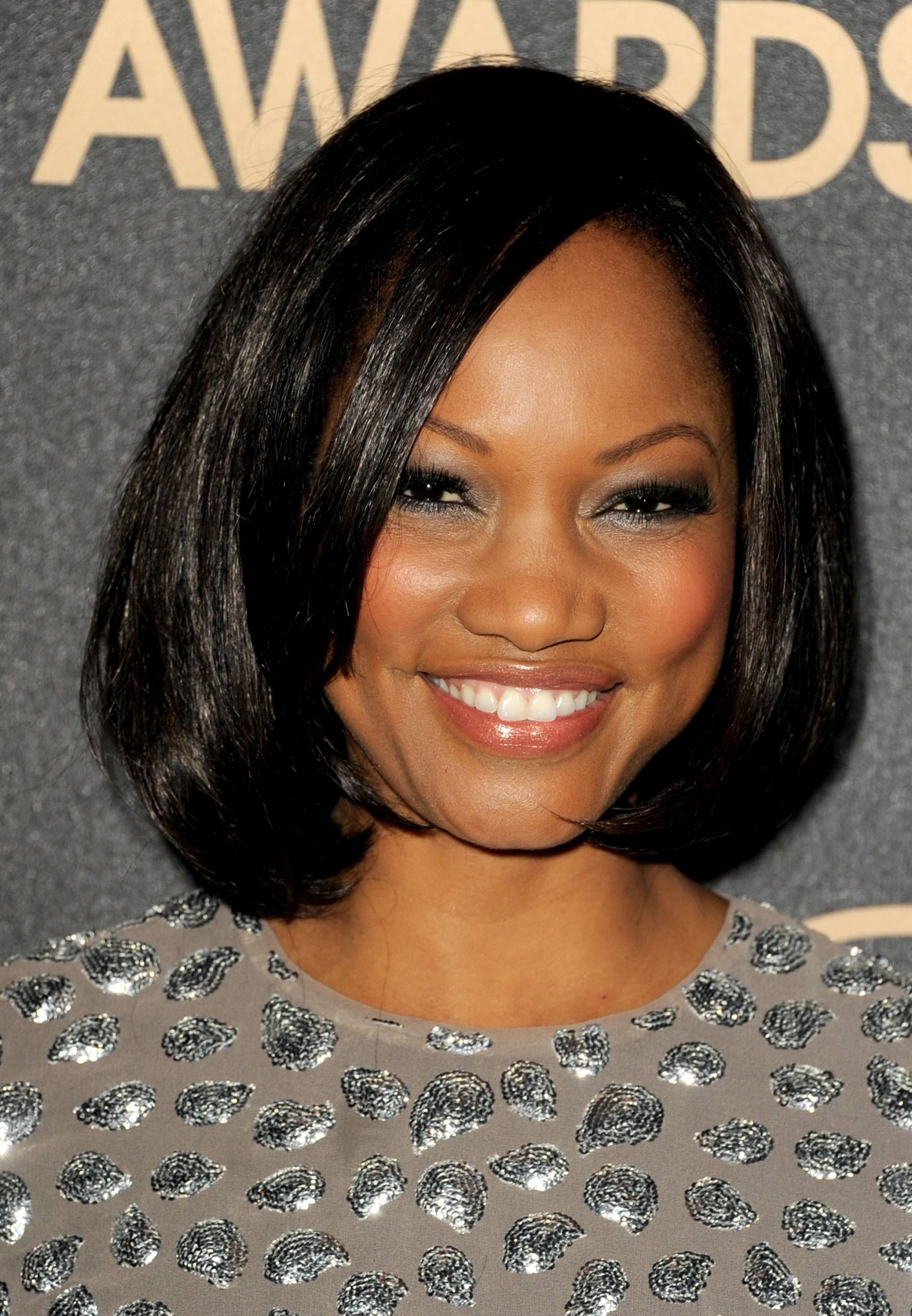 Garcelle side parted black bob