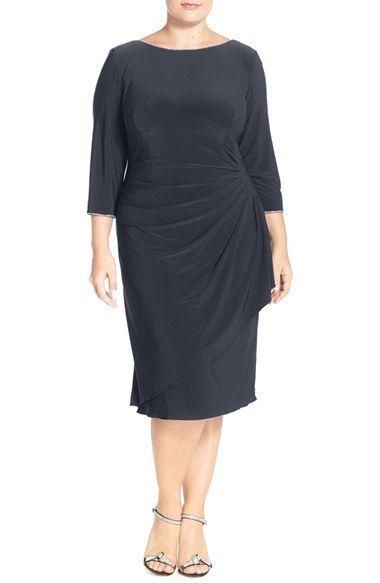 Alex Evenings Embellished Scoop Back Faux Wrap Dress Plus Size