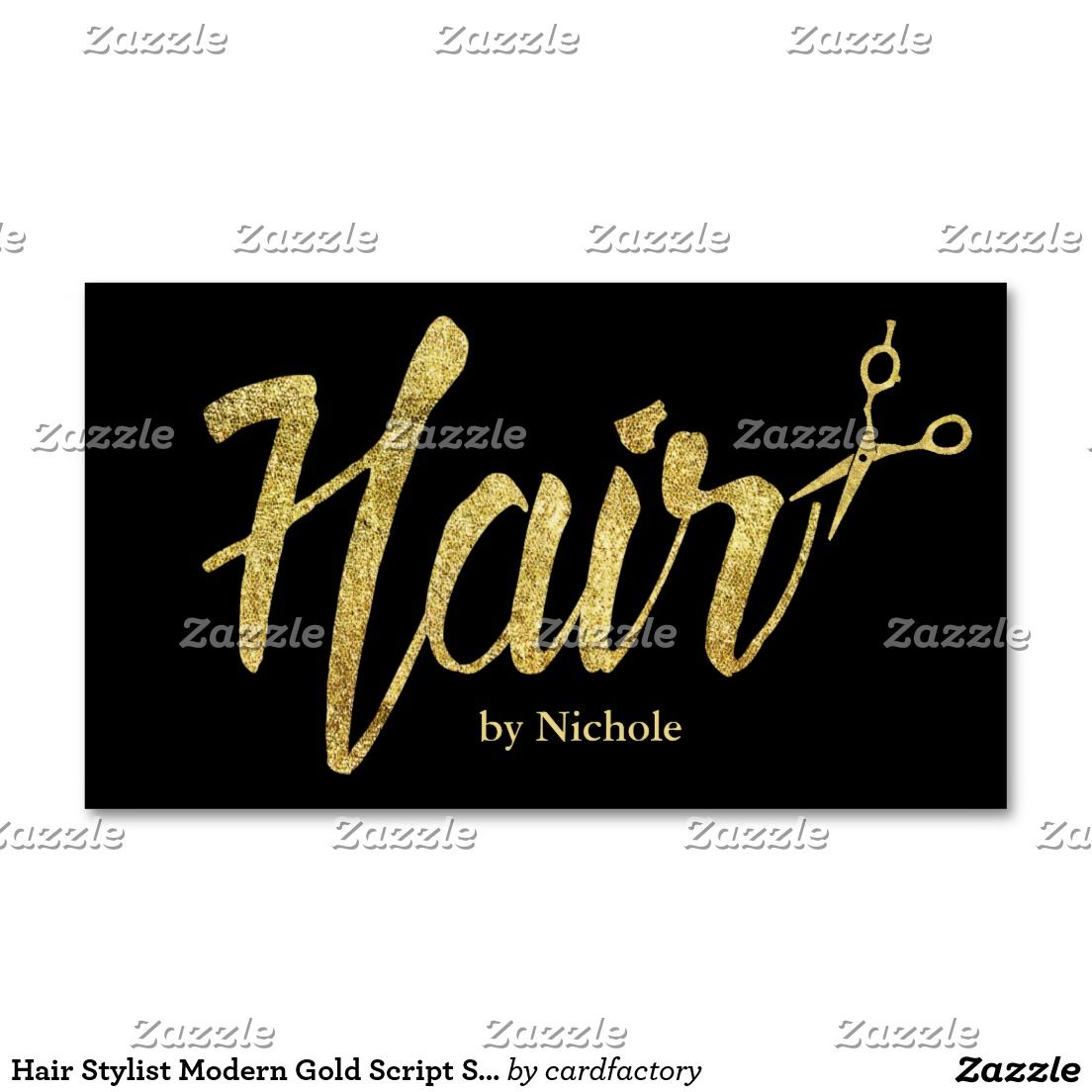 Hair Stylist Modern Gold Script Salon Appointment Business Card ...