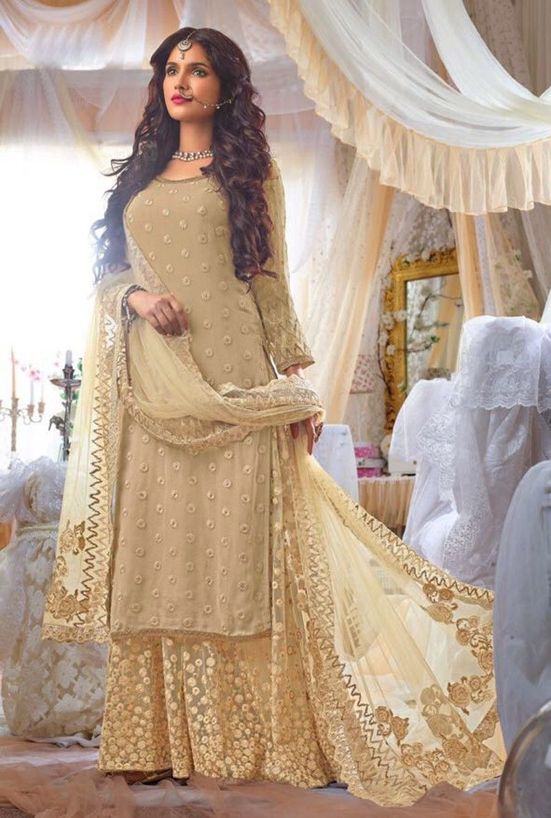 sharara suit with long kameez beige indian embroidered