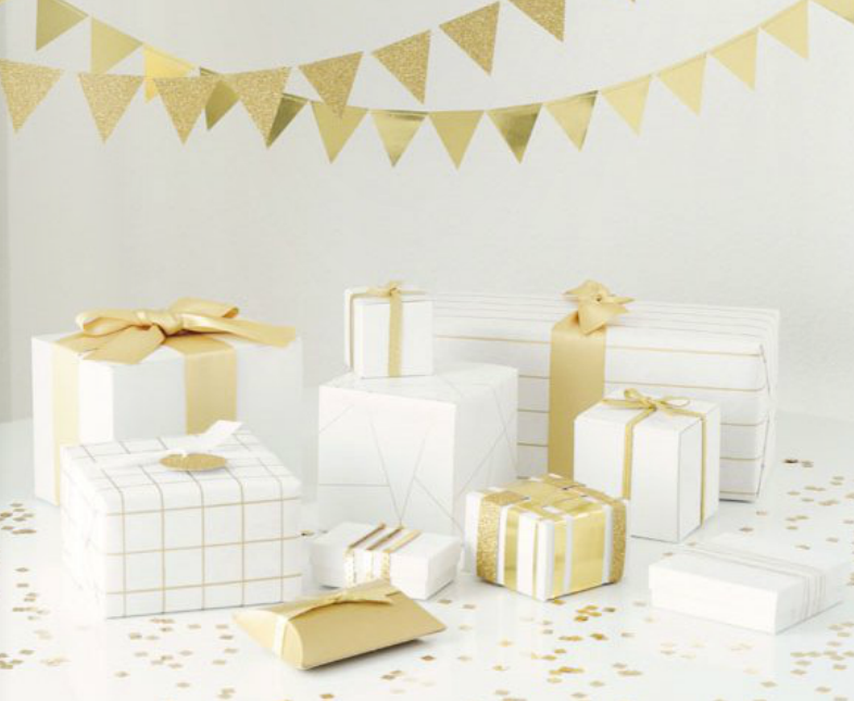 white + gold gift wrapping
