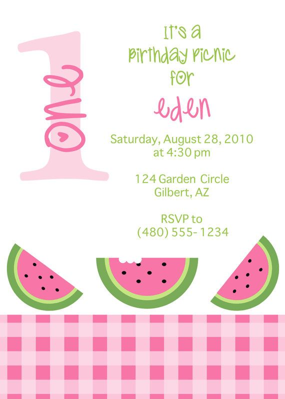 Printable Party Invitation Watermelon Picnic by FreshChickDesigns - fresh birthday invitation baby girl