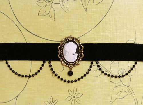Victorian Cameo Velvet choker with bead curtains.