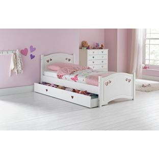New White toddler Bed with Drawers
