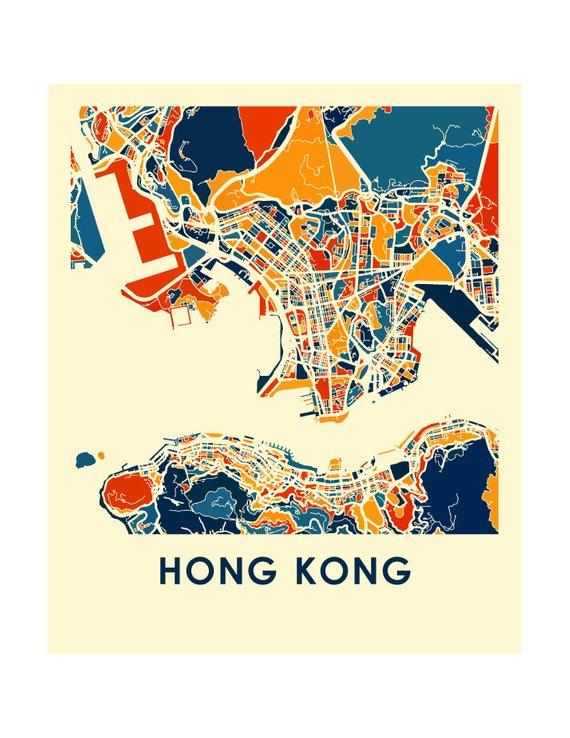 Hong Kong Map Print Full Color Map Poster Products