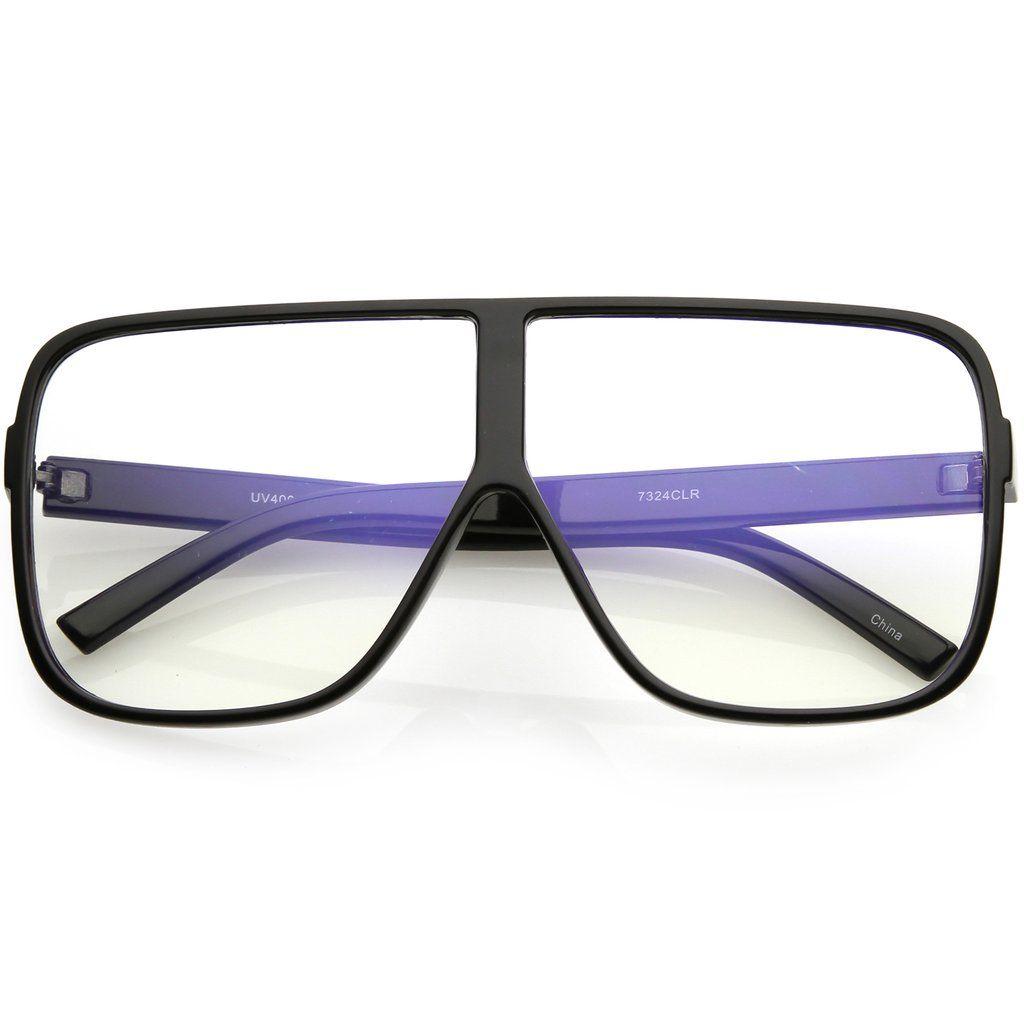 f4bbad97de Oversize Thick Flat Top Square Sunglasses Super Flat Clear Lens 69mm ...
