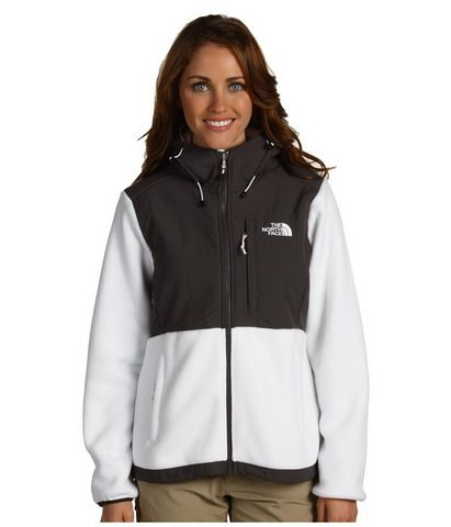North Face Womens Denali Fleece Hoodie Grey White