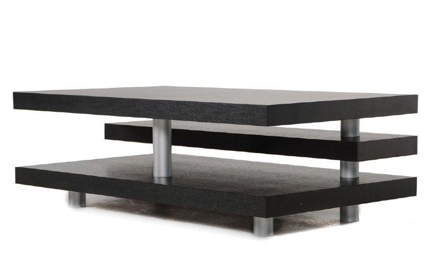 A X Adrian Modern Multi Tier Black Oak Coffee Table