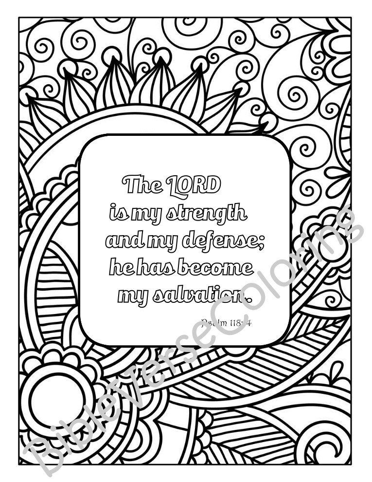 5 Bible Verse Coloring Pages Set Inspirational Quotes Diy Adult
