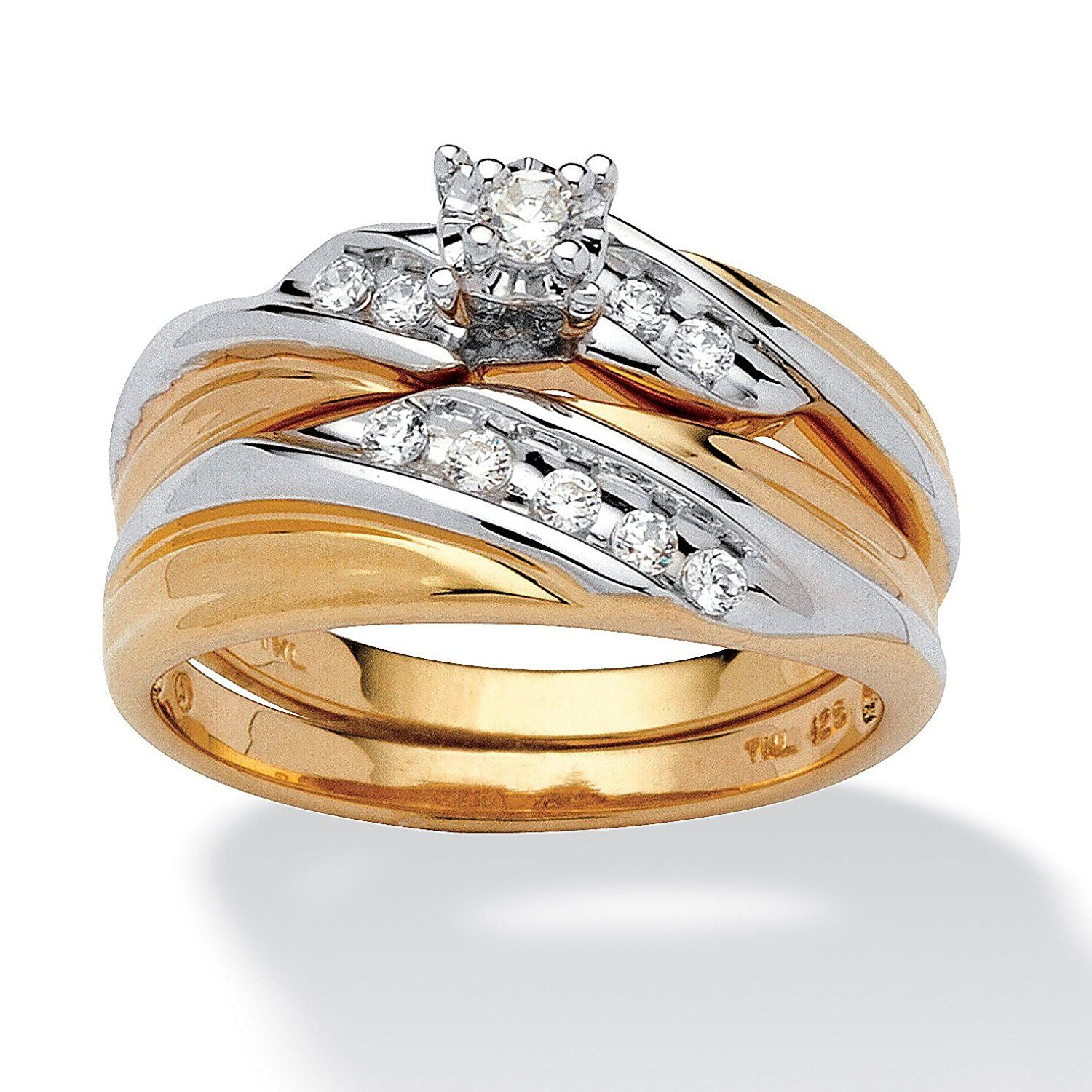 Palm Beach Jewelry Tutone 18k Gold over Sterling Silver