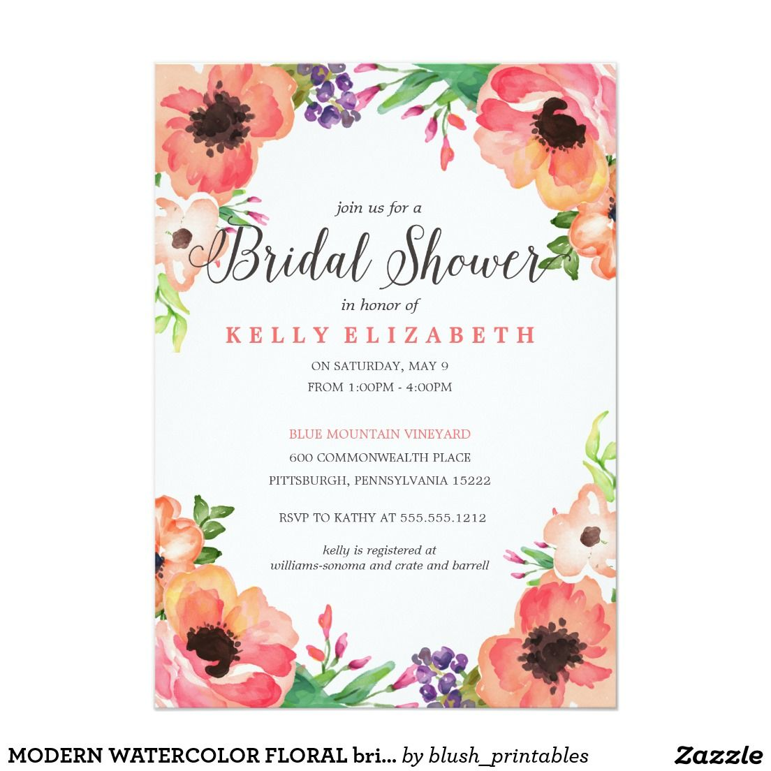 Modern Watercolor Floral Bridal Shower Invitation Shower