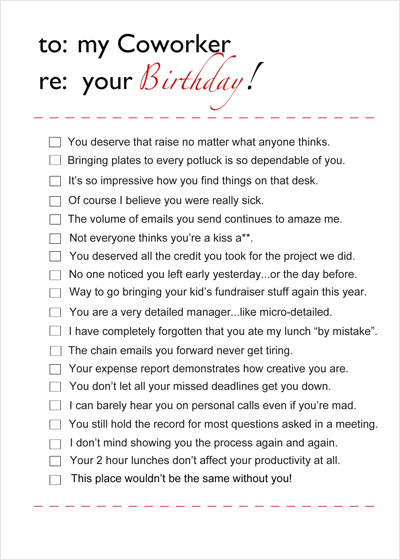 Co Worker Birthday Card Have Some Fun With This Checklist Style