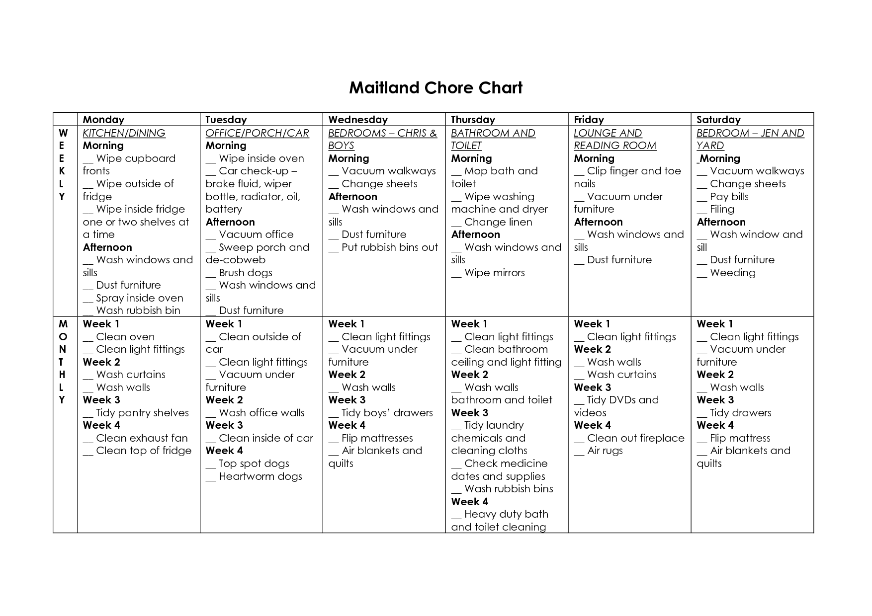 Free Household Chore List Templates Chore Chart
