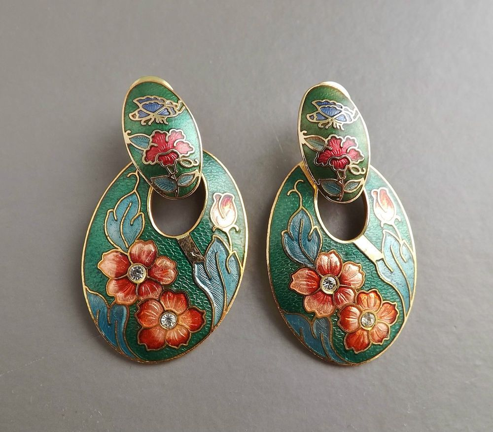 Vintage 80s closionne enamel hoop earrings .. diamante flower cute jewellery