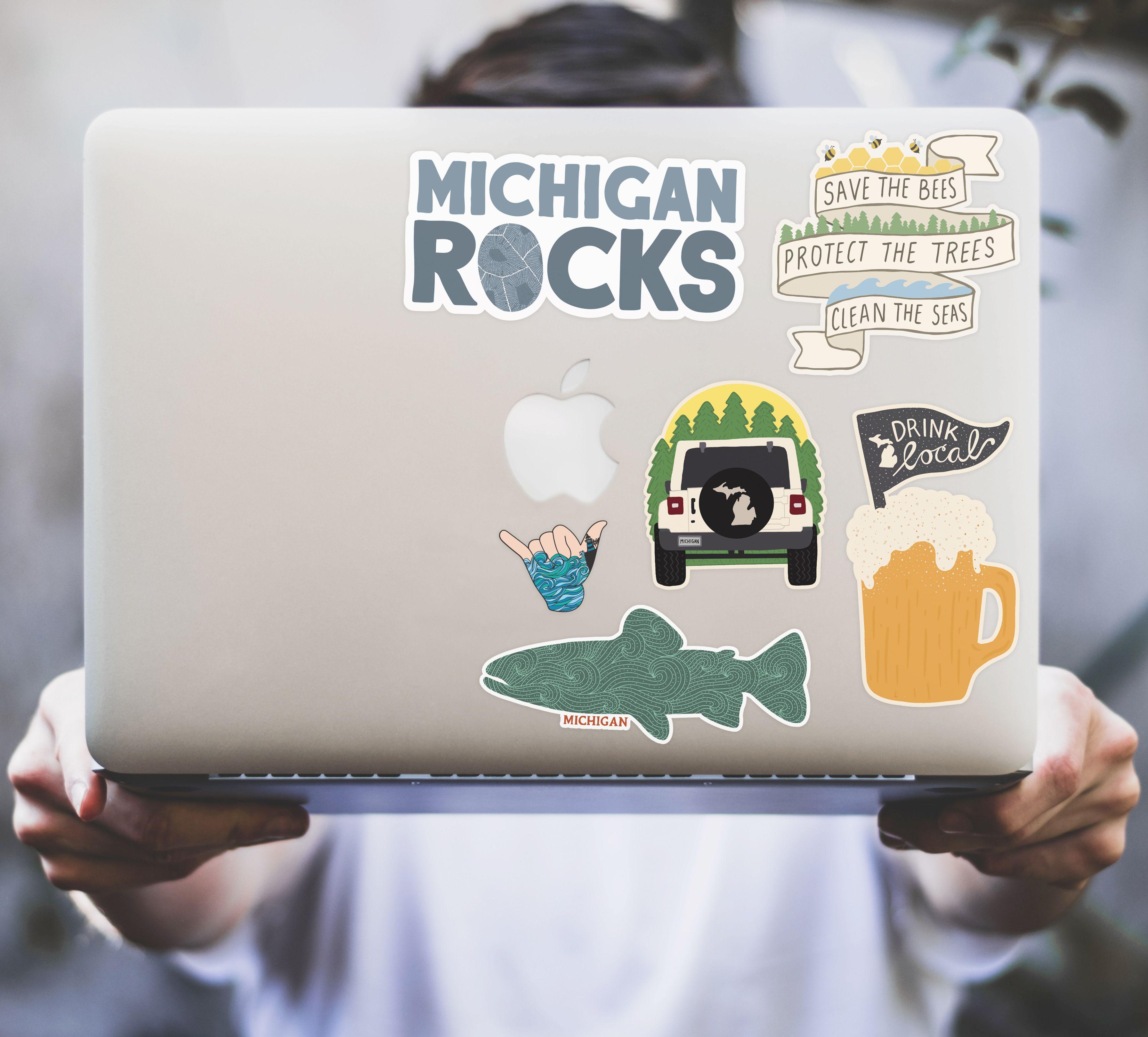 Stuck On Michigan Stickers Michigan Sticker Unique Items Products Bee Rocks [ 3240 x 3586 Pixel ]