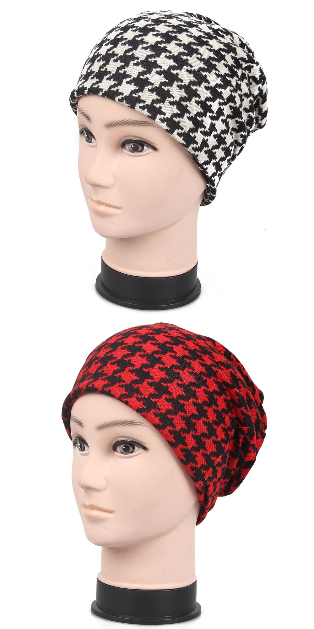 Free Shipping 2017 New Black White Red Houndstooth Beanies Hats For Mens  Womens 62462776e3a9