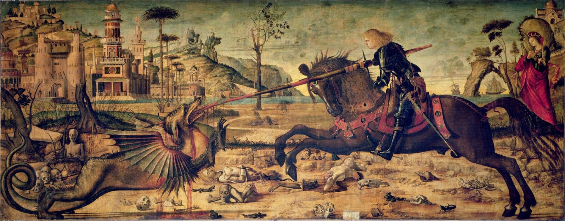 Carpaccio, St. George and the Dragon (1502) Tempera on canvas. Scuola di San Giorgio, Venice. Features in 'Miss Garnet's Angel' by… | San giorgio, Pop art, Venezia