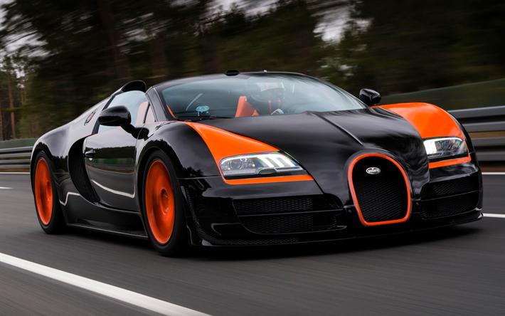 Lataa kuva Bugatti Veyron, tie, superautot, musta Veyron, hypercars, Bugatti