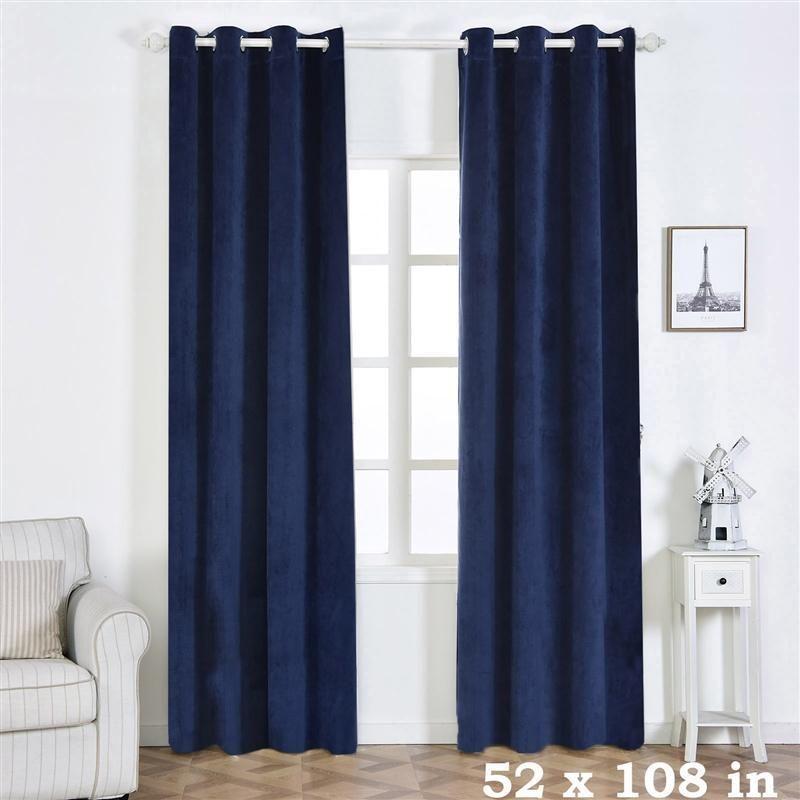 2 Pcs 52 X 108 Soft Velvet Blackout Window Curtains Drapes