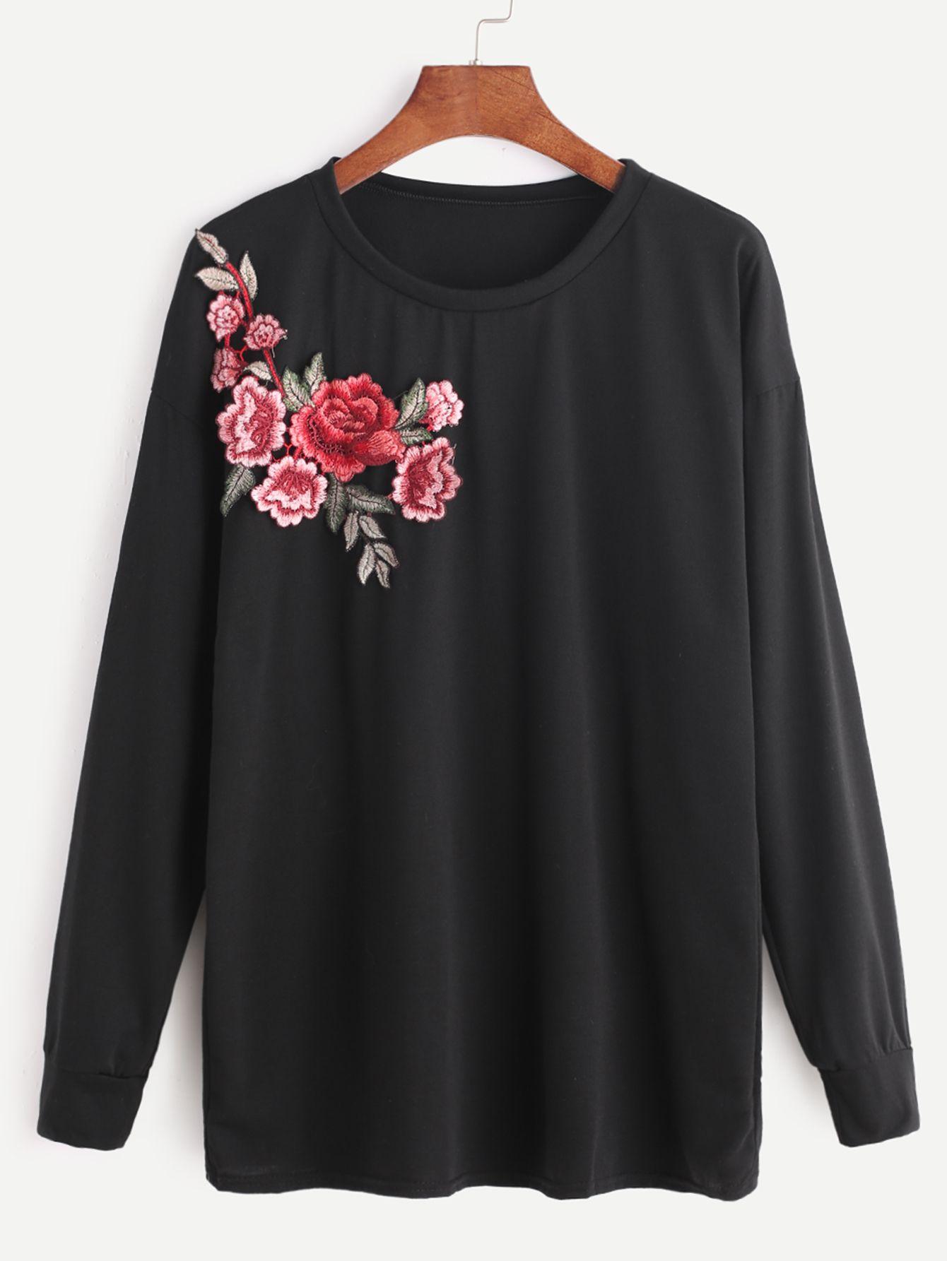 Sweat à capuche brodé par fleur noire-French SheIn(Sheinside ... bfa48afc894f
