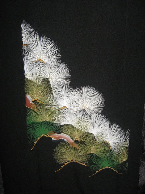 SF991 Vintage Japanese Hand painted Pines on Silk