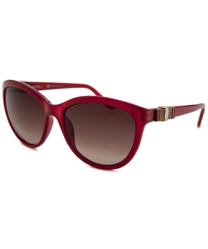 c4170c8e80 Salvatore Ferragamo Women s Round Translucent Red Sunglasses