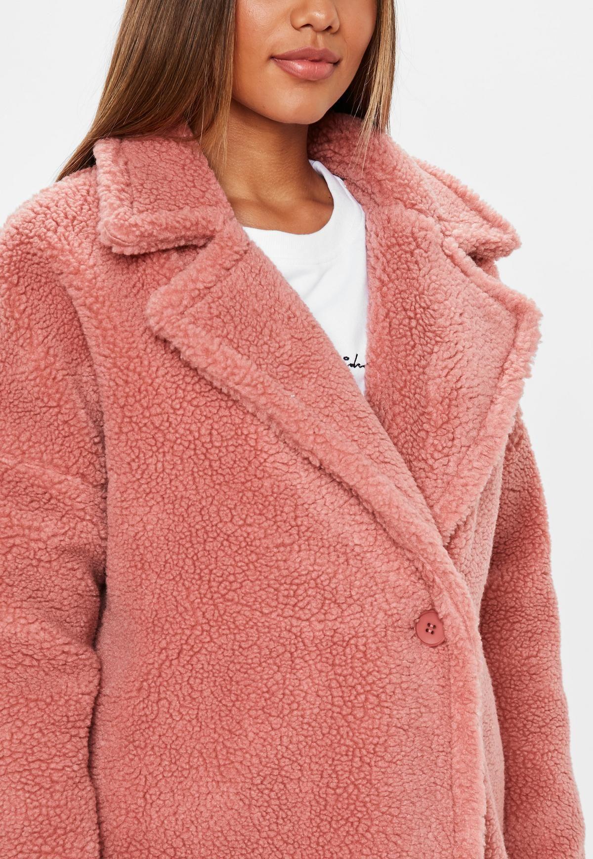 Blush Pink Chunky Borg Teddy Coat Missguided Women S Coats Jackets Clothes Coats Jackets [ 1738 x 1200 Pixel ]