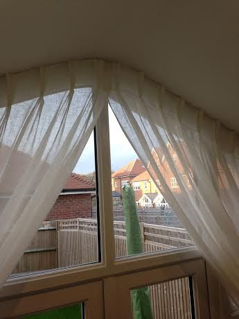 Voile Double Pleat Curtain For A Triangular Window