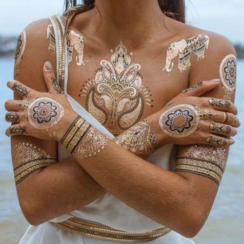 Henna Metallic Temporary Tattoo Stickers Gold Silver Flash Tattoos Metallic Tattoo Temporary Gold Tattoo Henna Flash Tattoo