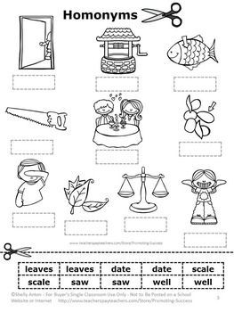 FREE Download Homonyms Word Work Cut and Paste Vocabulary ...
