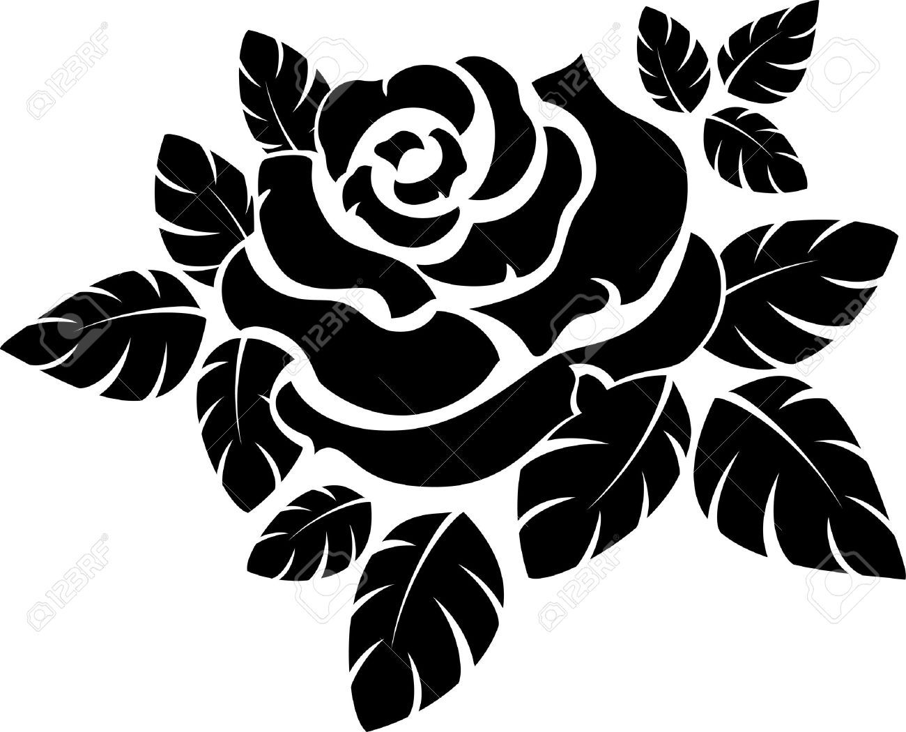 Vector Rose Silhouette Isolated On White Royalty Free ...