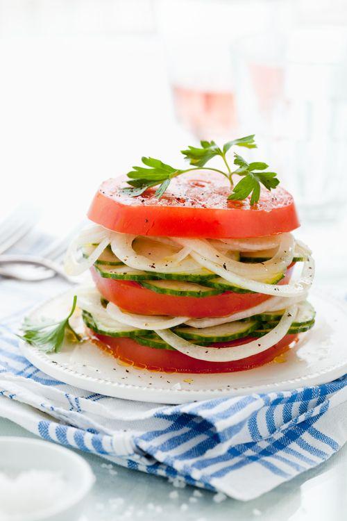Marinated Cucumber, Onion, & Tomato Salad