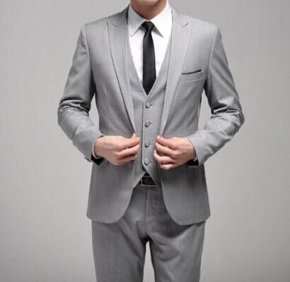 Leisure Casual Suit Perfect Male Suits Peaked Lapel Two Button Dark Gray Groomsman Tuxedos Wedding Suits( jacket+Pants+vest+tie)