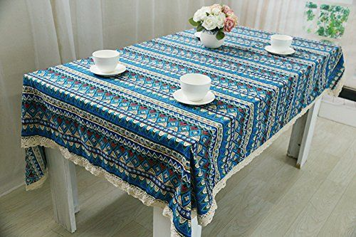 Snowskite Bohemian Style Geometric Design Rectangle Tablecloth Linen Lace Table Cloth Dinning Table C Custom Table Cloth Home Coffee Tables Kitchen Tablecloths