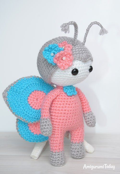Amigurumi Doll In Butterfly Costume Amigurumi Pinterest Häkeln