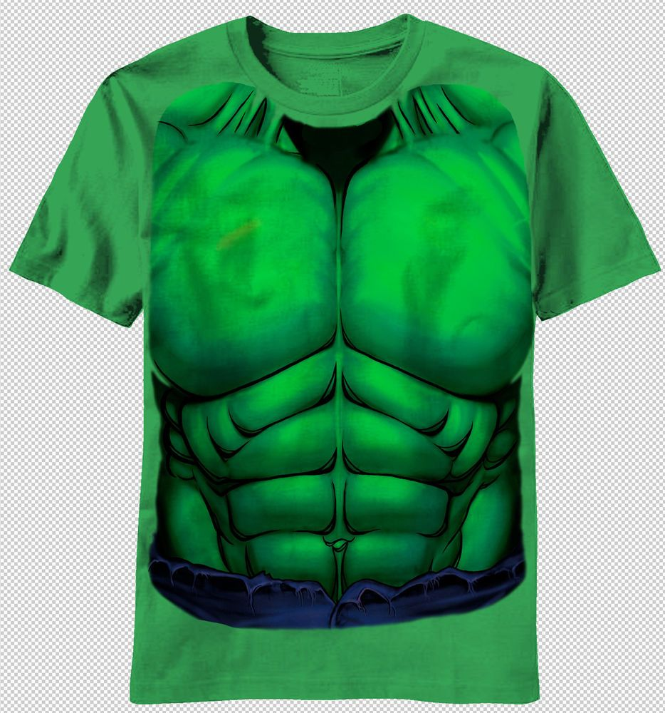 c5b8a5268 The Incredible Hulk Chest Muscle Costume Adult Green T-shirt top marvel  comics Men Sizes: S, M, L, XL, 2XL