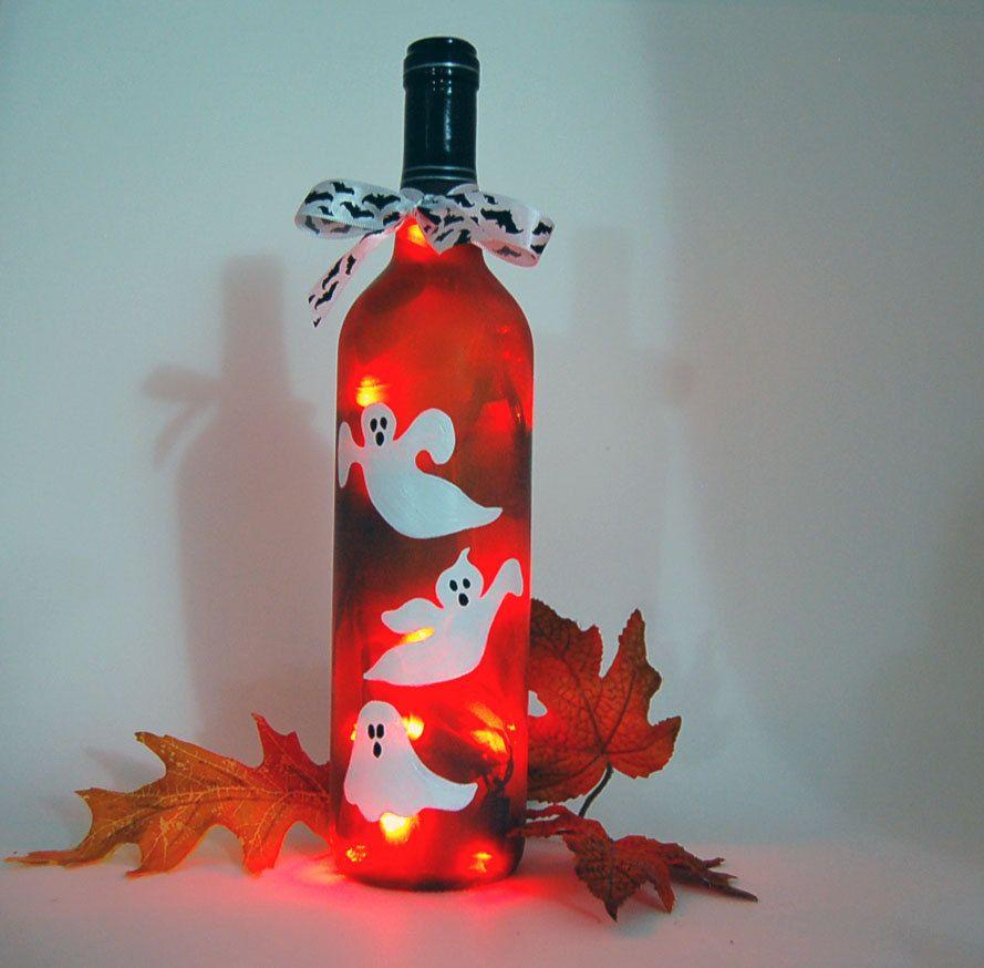 How To Decorate Wine Bottles For Halloween Mesmerizing Halloween Decoration Wine Bottle Light Ghosts  Bottle Lights Decorating Design