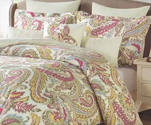 nicole miller home malian scrolls red taupe sage green blue taupe mustard yellow full queen duvet