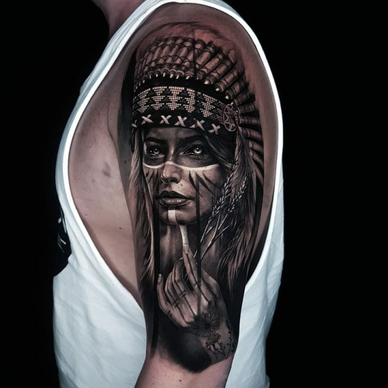 Artistic fantasy black and gray neotraditional