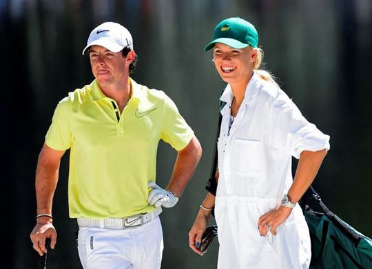 Caroline Wozniacki Duffs Shot In The Water While Caddying For Boyfriend Rory Mcilroy Spousesinsports Pgatour Pgag Caroline Wozniacki Rory Mcilroy Mens Tops