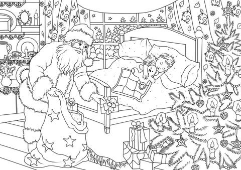 Santa Claus Is Delivering Presents Under The Christmas Tree While A Little Boy Is Sleepin Coloring Pages Free Printable Coloring Pages Printable Coloring Pages