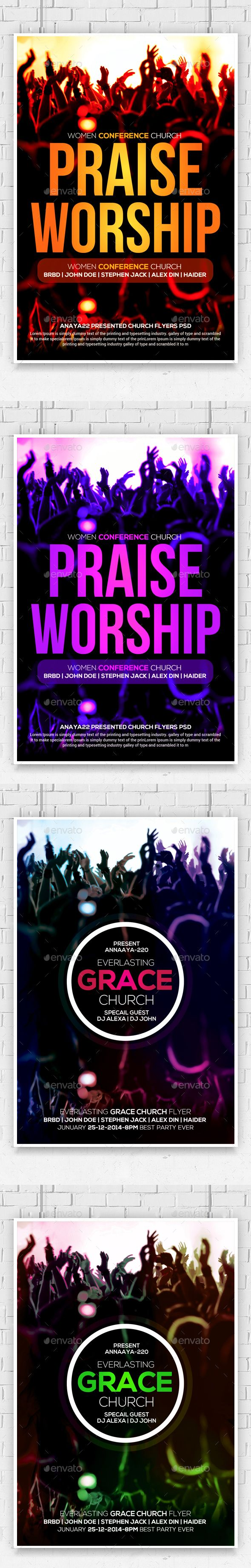 praise and worship church flyers bundle concerts praise and praise and worship church flyers bundle photoshop psd worship concert available here