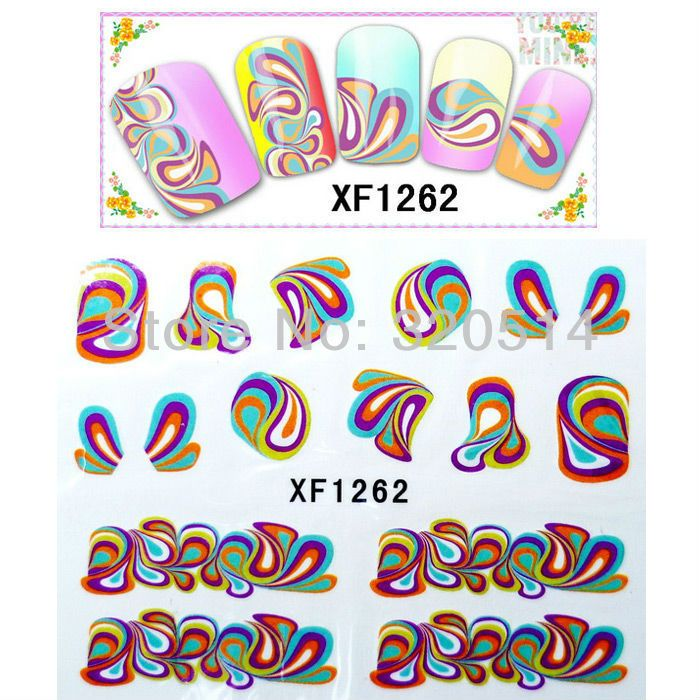 Free Shipping 20pcs/lot Nail Art Wrap Water Transfers Stickers Decals Colorful  Designs Water Decals Nail Art Stickers XF1262 $7.80