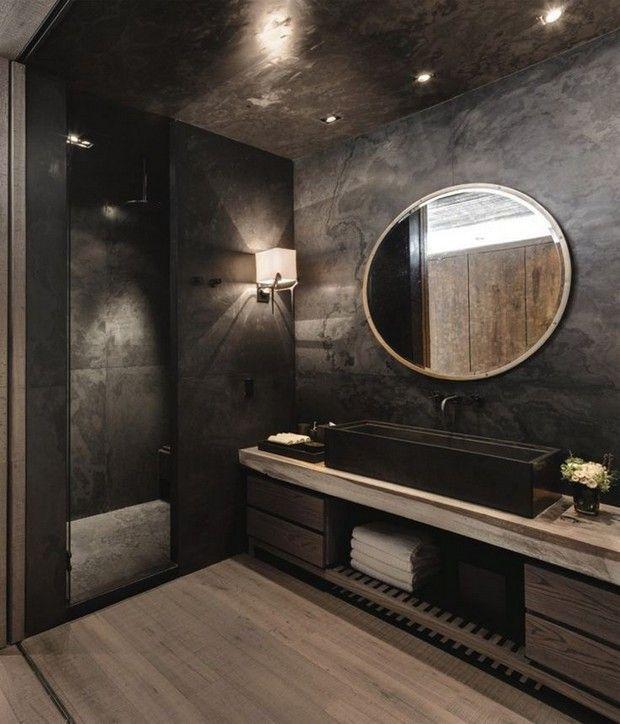 Photo of Stilvoller und mutiger schwarzer Badezimmerentwurf mit Holzfußboden und Eitelke…