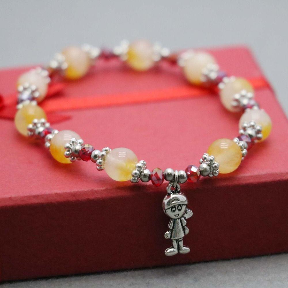 Click to buy ucuc korean style yellow chalcedony beads bracelet hand